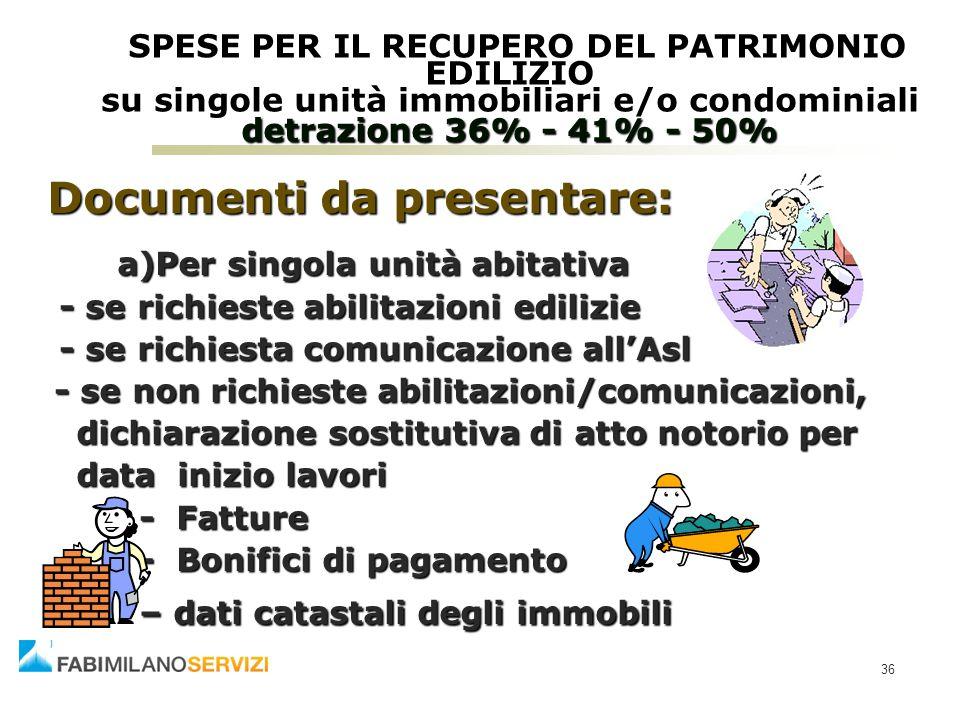 Documenti da presentare: a)Per singola unità abitativa