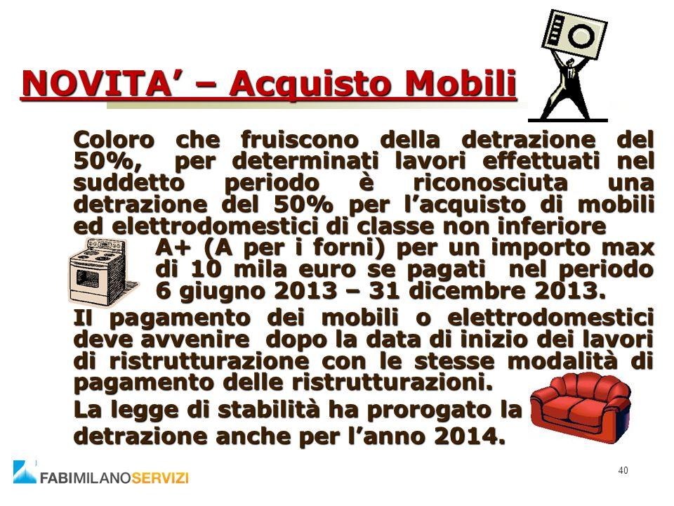 NOVITA' – Acquisto Mobili