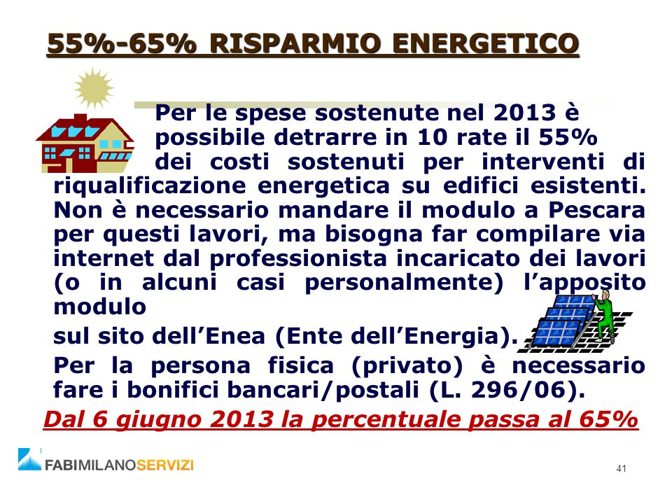 55%-65% RISPARMIO ENERGETICO