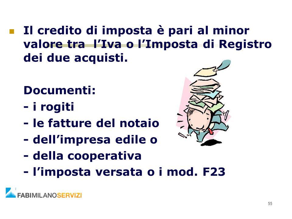 Il credito di imposta è pari al minor valore tra l'Iva o l'Imposta di Registro dei due acquisti.