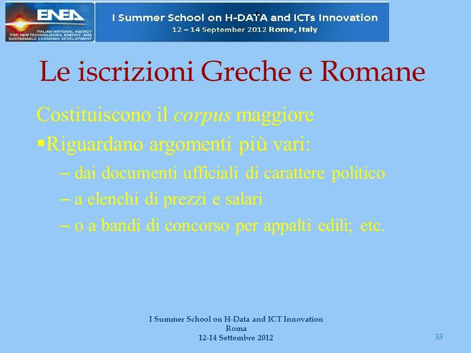 Le iscrizioni Greche e Romane