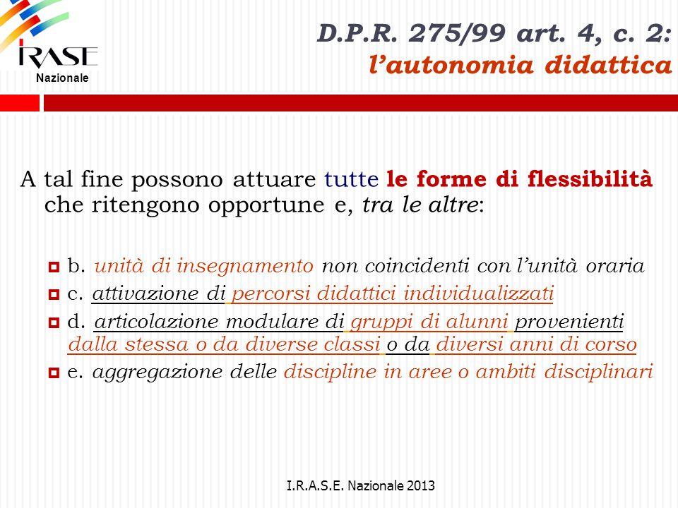 D.P.R. 275/99 art. 4, c. 2: l'autonomia didattica