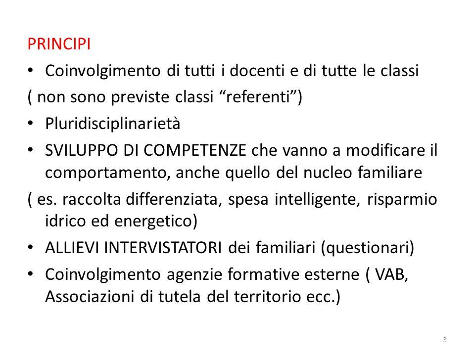 PRINCIPI Coinvolgimento di tutti i docenti e di tutte le classi. ( non sono previste classi referenti )