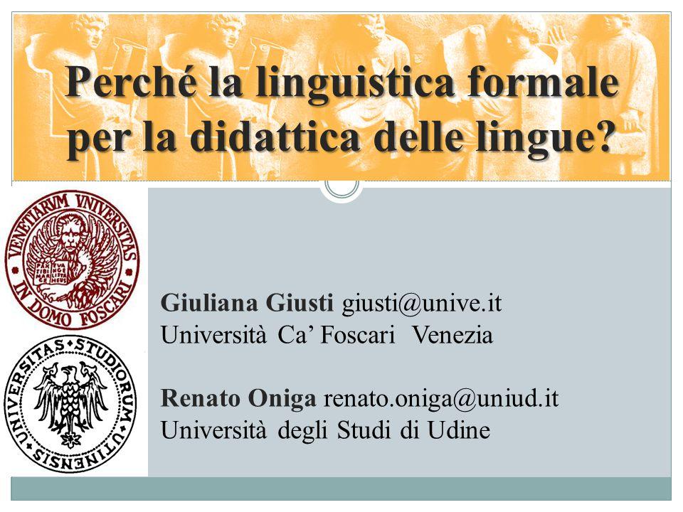 Perché la linguistica formale per la didattica delle lingue