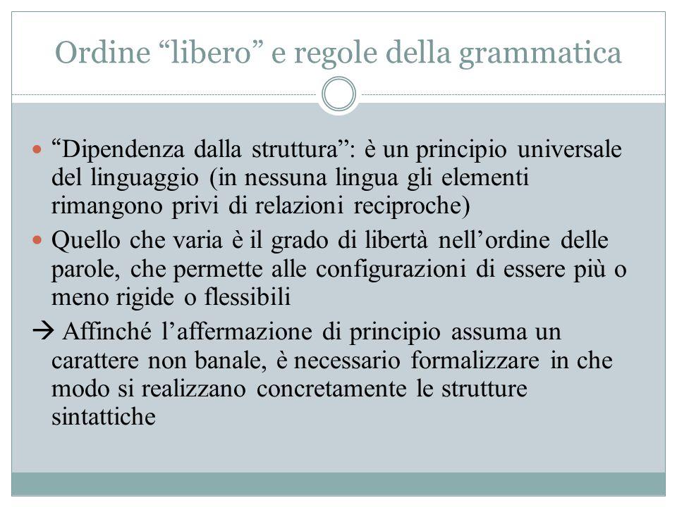 Ordine libero e regole della grammatica
