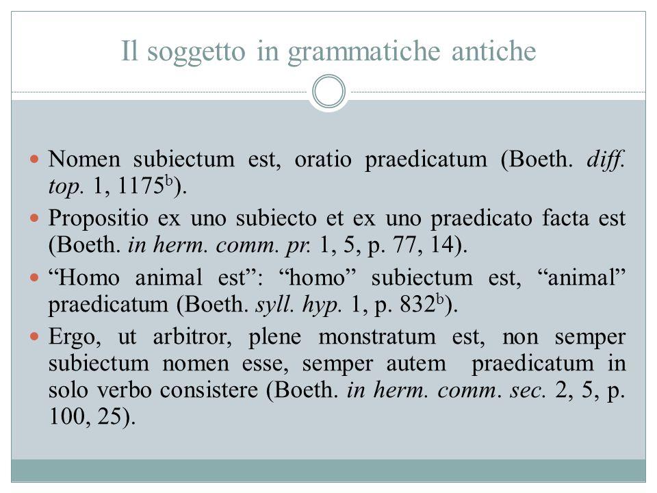 Il soggetto in grammatiche antiche
