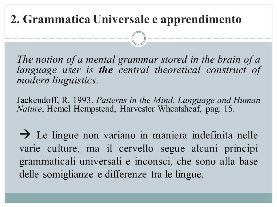 2. Grammatica Universale e apprendimento