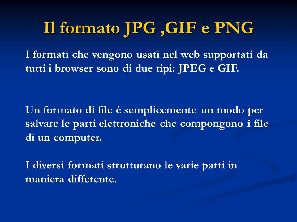 Il formato JPG ,GIF e PNG I formati che vengono usati nel web supportati da tutti i browser sono di due tipi: JPEG e GIF.
