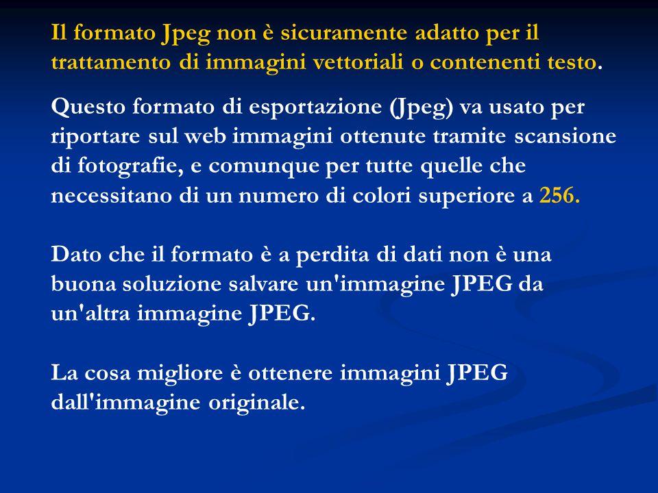 Il formato Jpeg non è sicuramente adatto per il trattamento di immagini vettoriali o contenenti testo.