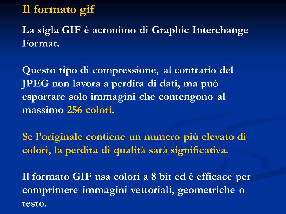 Il formato gif La sigla GIF è acronimo di Graphic Interchange Format.