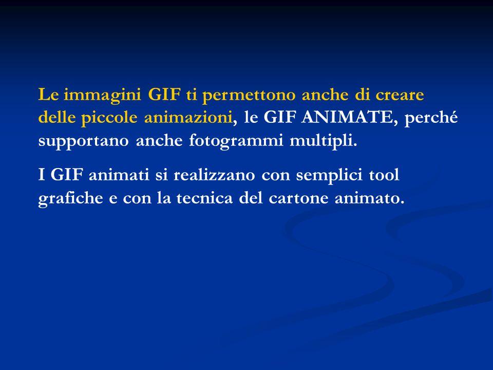 Le immagini GIF ti permettono anche di creare delle piccole animazioni, le GIF ANIMATE, perché supportano anche fotogrammi multipli.
