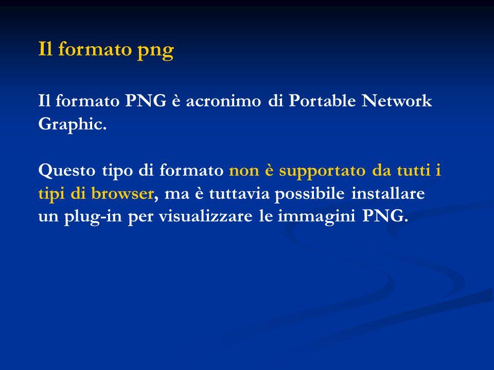 Il formato png Il formato PNG è acronimo di Portable Network Graphic.