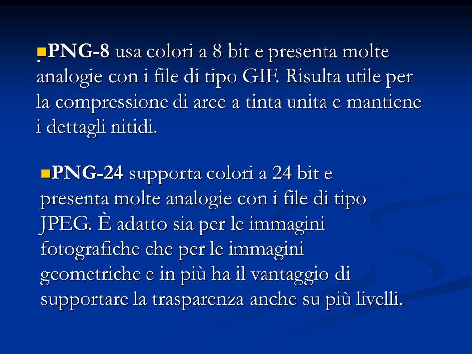 PNG-8 usa colori a 8 bit e presenta molte analogie con i file di tipo GIF. Risulta utile per la compressione di aree a tinta unita e mantiene i dettagli nitidi.