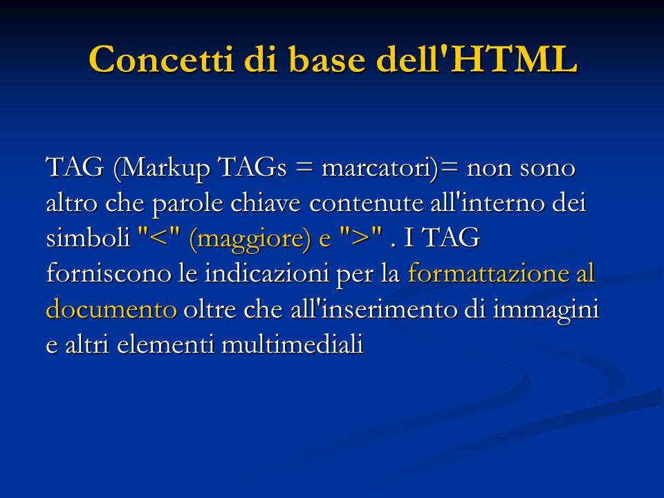 Concetti di base dell HTML