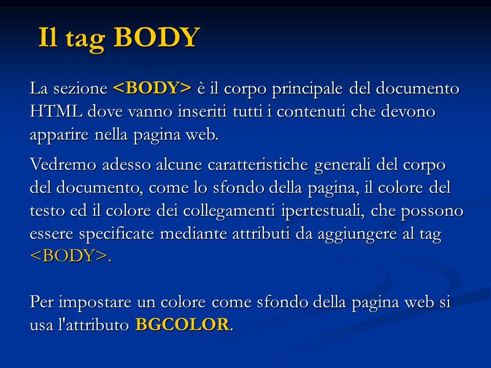 Il tag BODY La sezione <BODY> è il corpo principale del documento HTML dove vanno inseriti tutti i contenuti che devono apparire nella pagina web.
