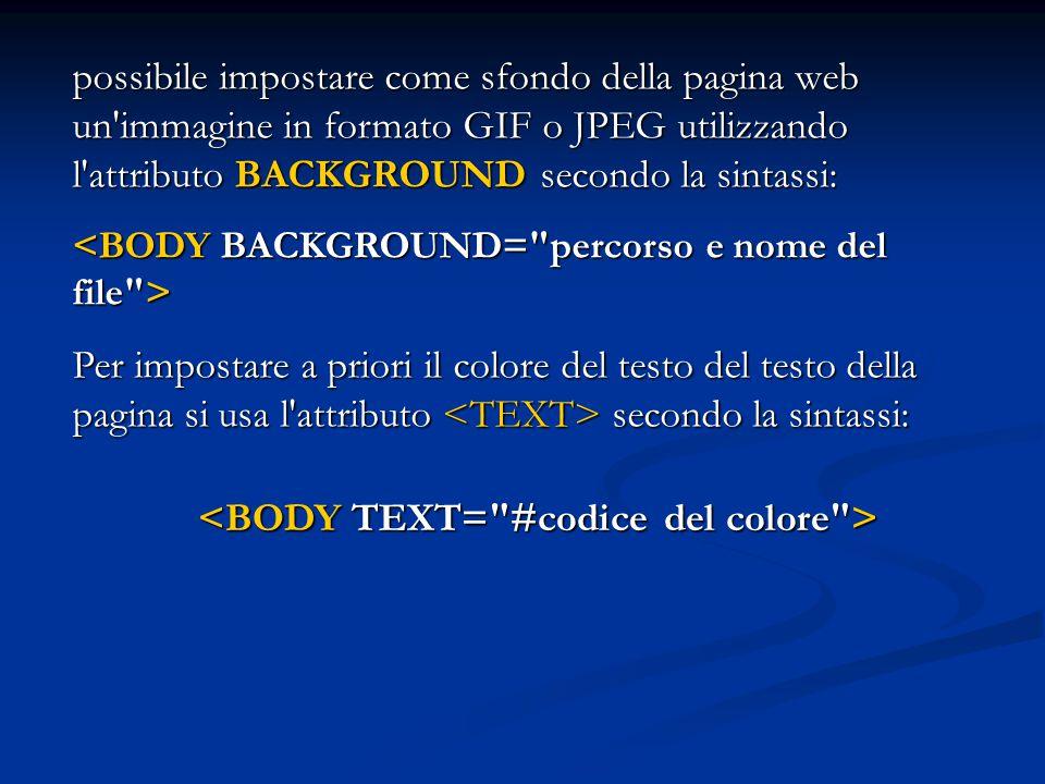 <BODY TEXT= #codice del colore >