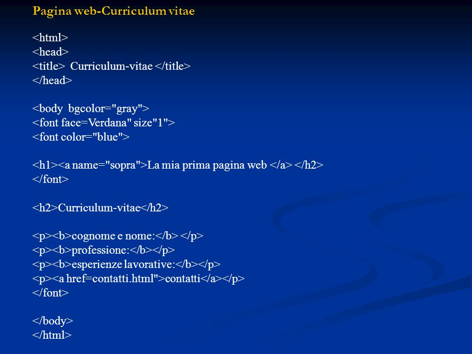 Pagina web-Curriculum vitae