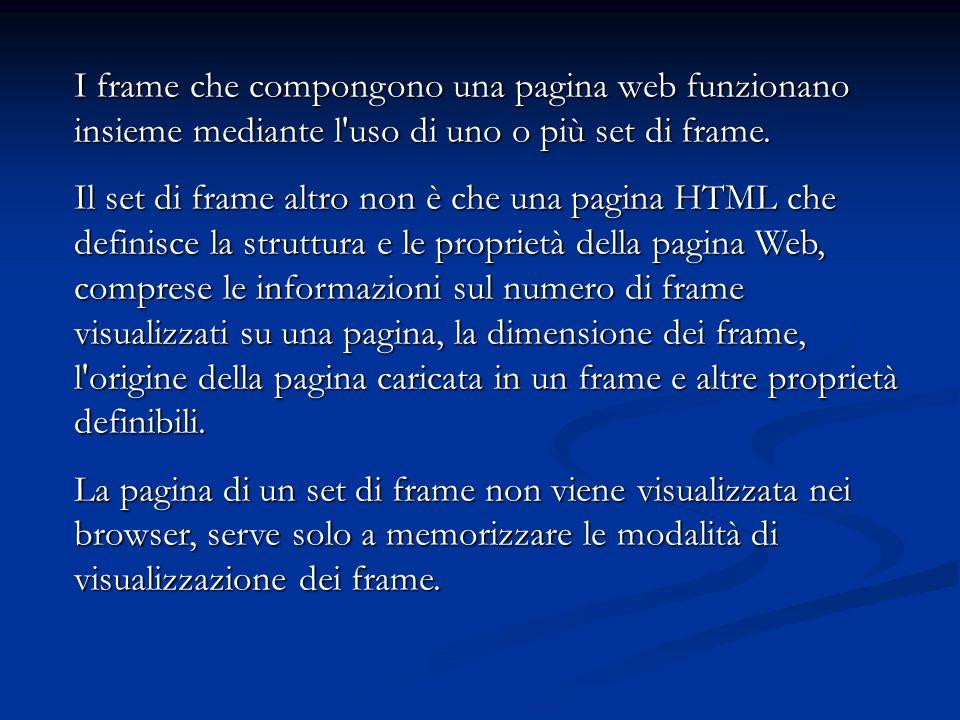 I frame che compongono una pagina web funzionano insieme mediante l uso di uno o più set di frame.