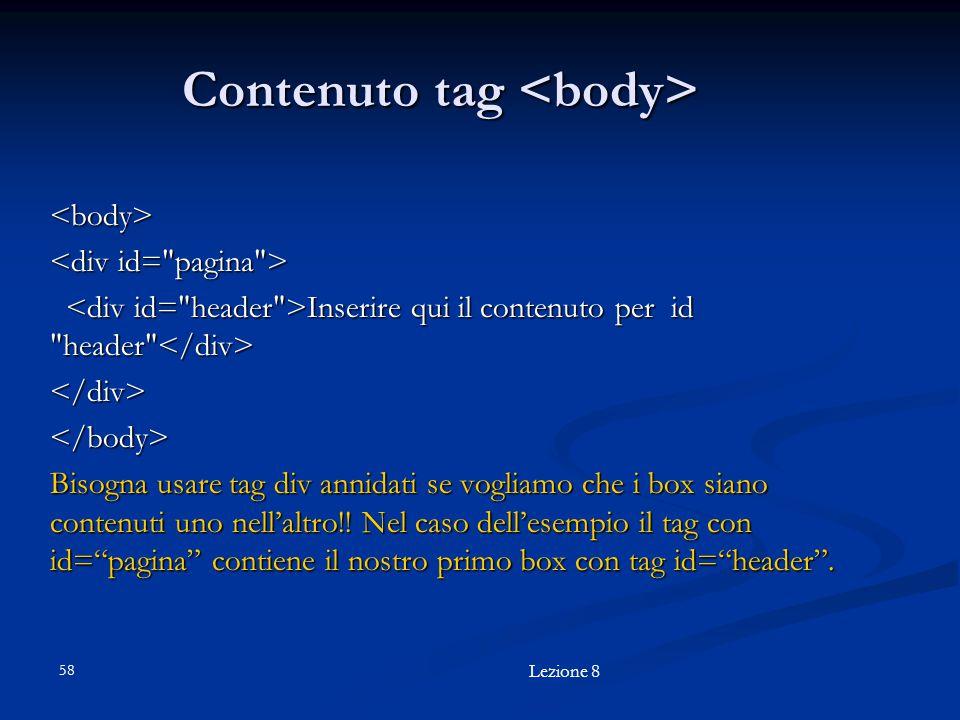 Contenuto tag <body>