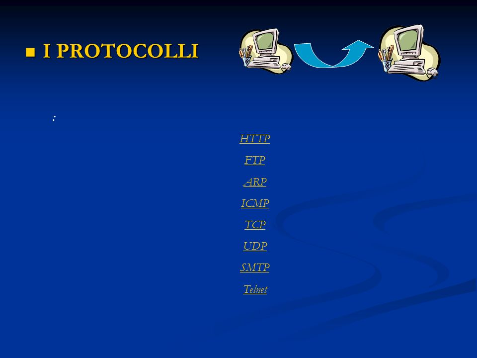 I PROTOCOLLI : HTTP FTP ARP ICMP TCP UDP SMTP Telnet NNTP
