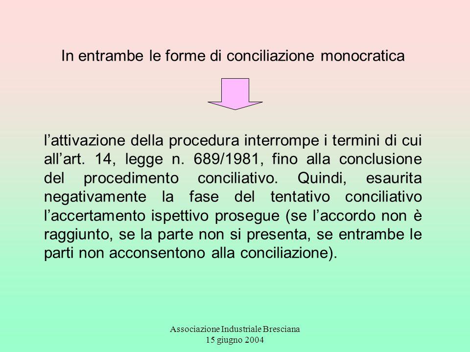 In entrambe le forme di conciliazione monocratica