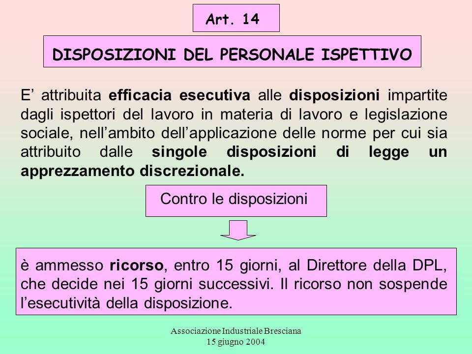 Art. 14 DISPOSIZIONI DEL PERSONALE ISPETTIVO