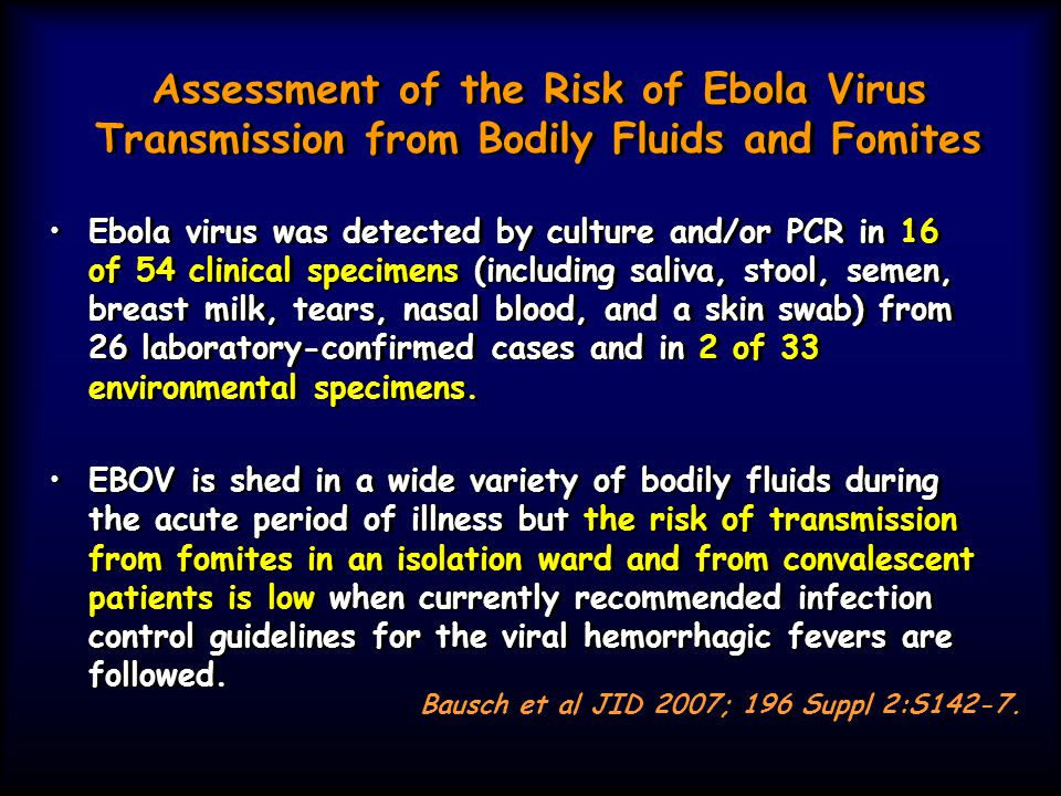 Assessment of the Risk of Ebola Virus Transmission from Bodily Fluids and Fomites