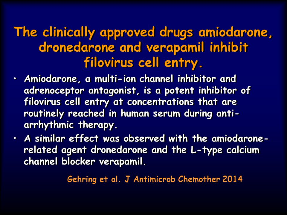 The clinically approved drugs amiodarone, dronedarone and verapamil inhibit filovirus cell entry.