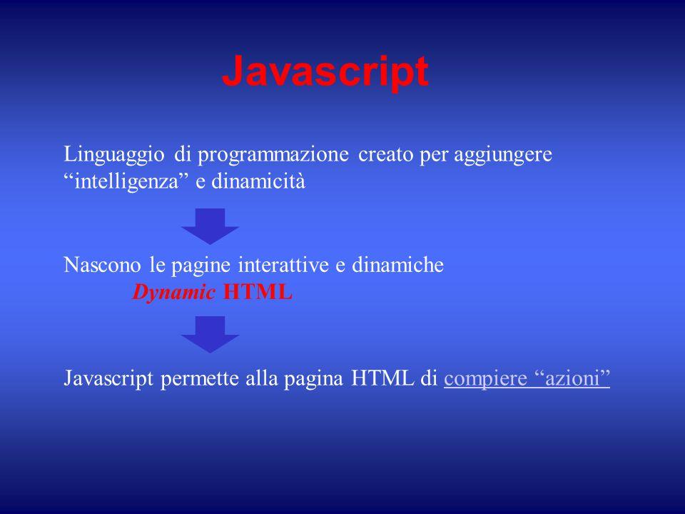 Javascript Linguaggio di programmazione creato per aggiungere