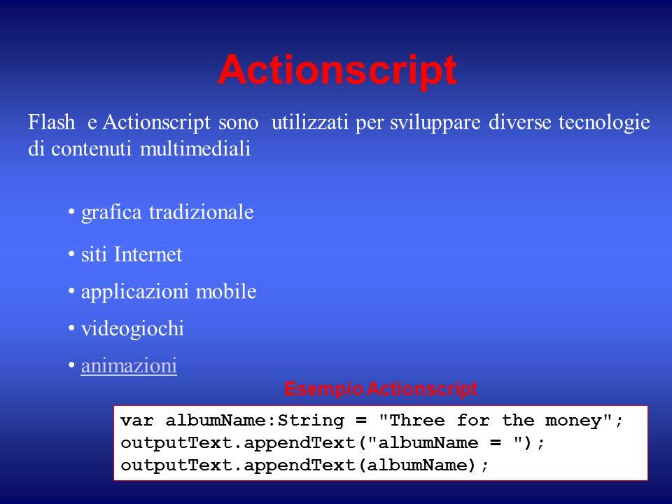 Actionscript Flash e Actionscript sono utilizzati per sviluppare diverse tecnologie di contenuti multimediali.