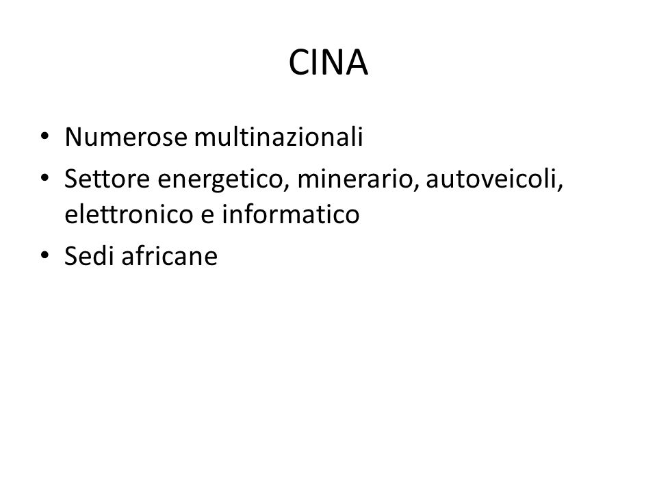 CINA Numerose multinazionali
