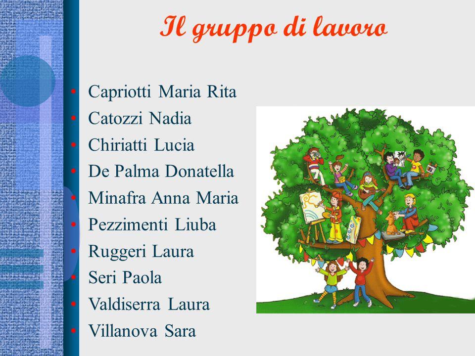 Il gruppo di lavoro Capriotti Maria Rita Catozzi Nadia Chiriatti Lucia