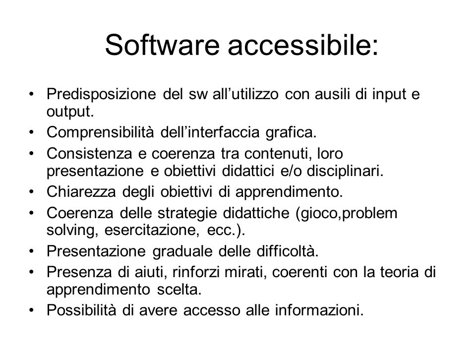 Software accessibile: