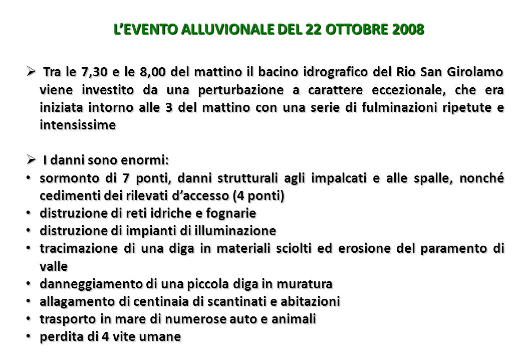 L'EVENTO ALLUVIONALE DEL 22 OTTOBRE 2008