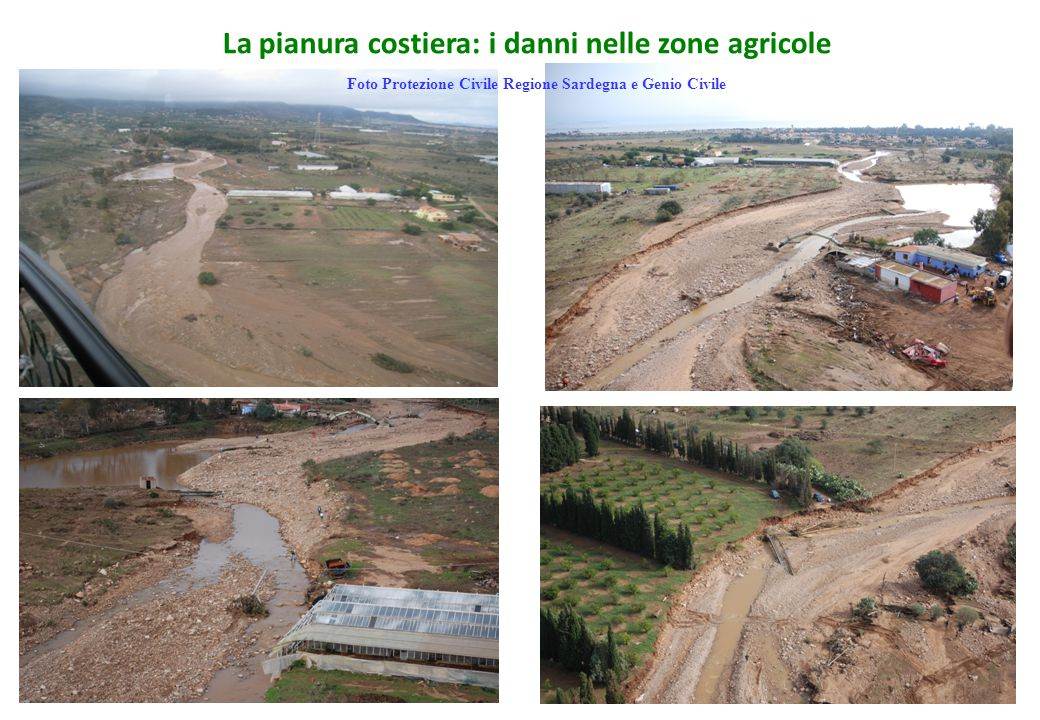 La pianura costiera: i danni nelle zone agricole