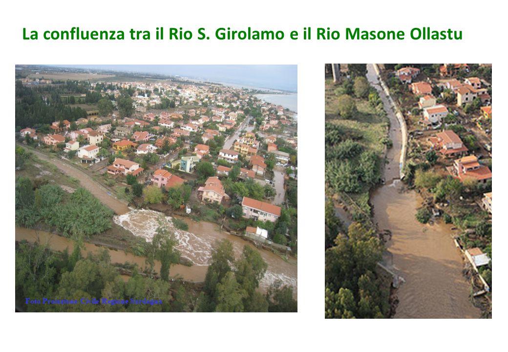 La confluenza tra il Rio S. Girolamo e il Rio Masone Ollastu