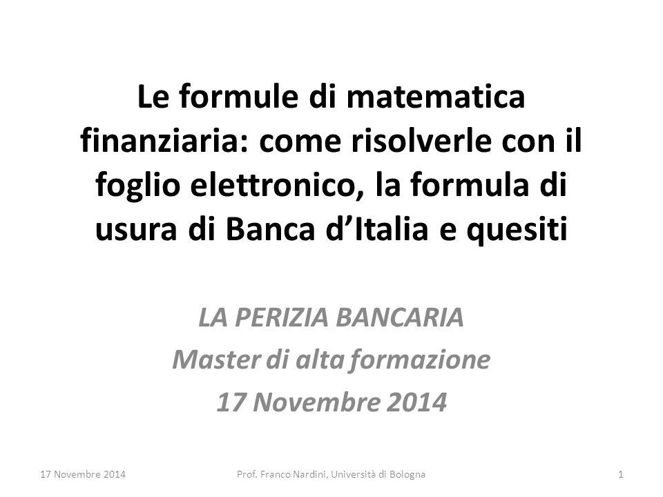 LA PERIZIA BANCARIA Master di alta formazione 17 Novembre 2014