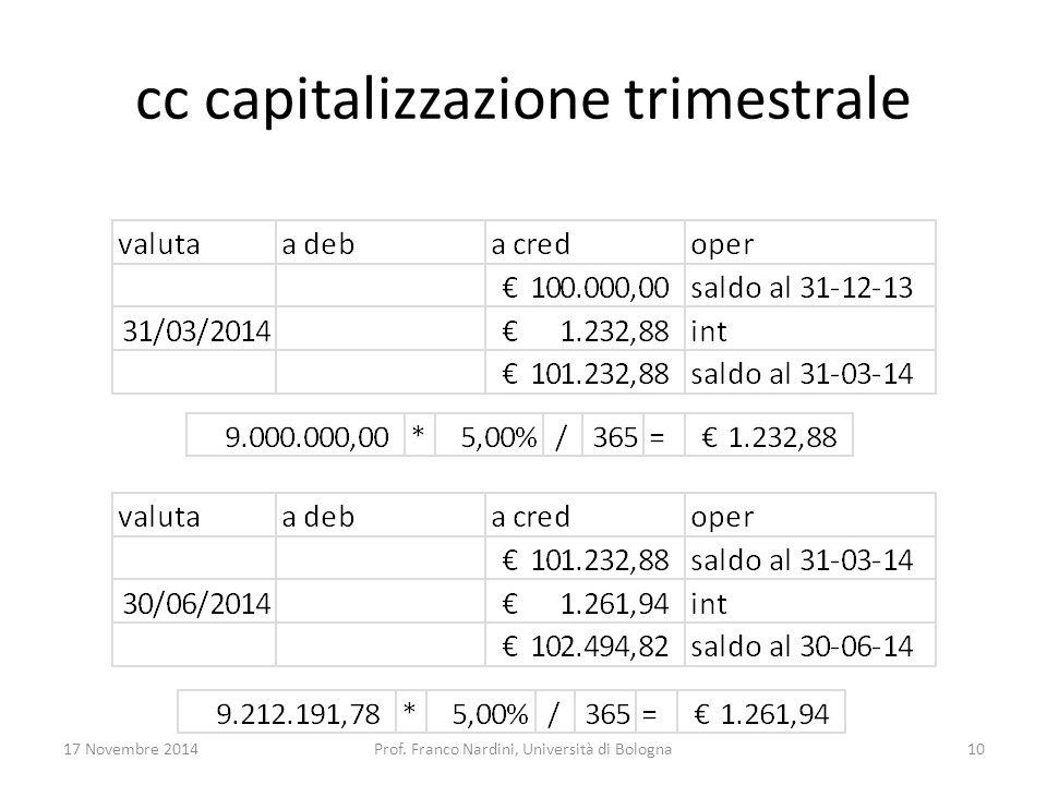 cc capitalizzazione trimestrale