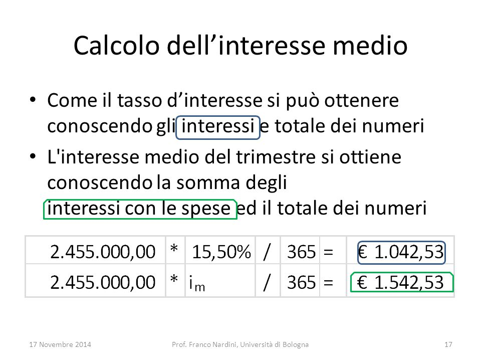 Calcolo dell'interesse medio