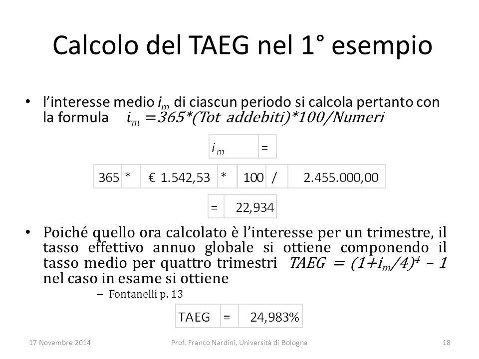 Calcolo del TAEG nel 1° esempio