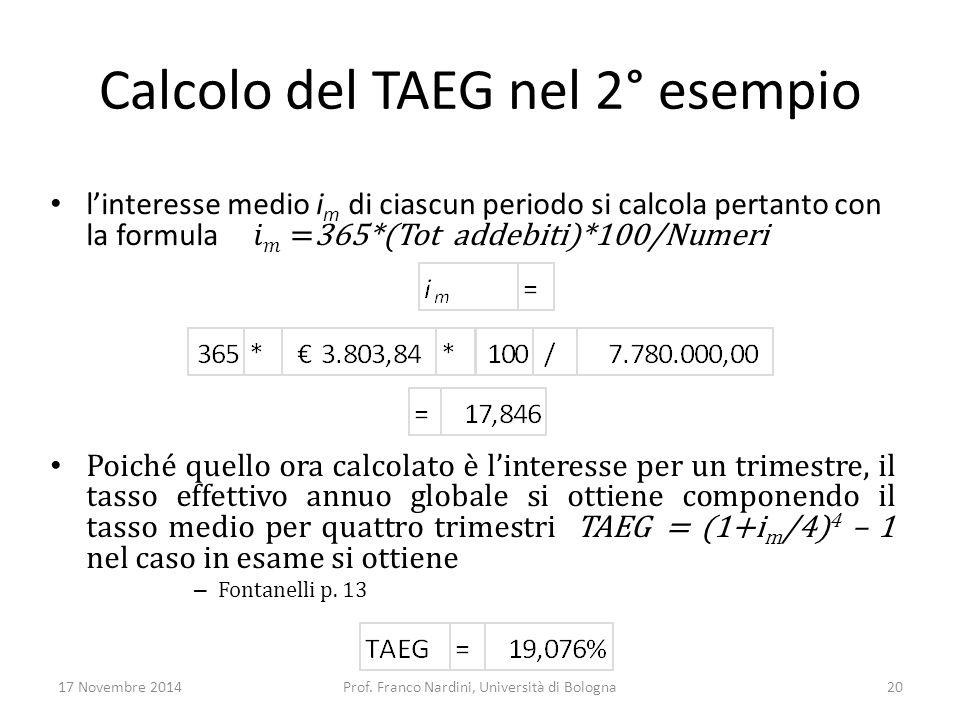Calcolo del TAEG nel 2° esempio