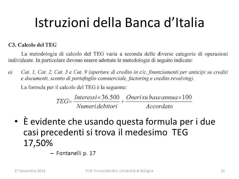Istruzioni della Banca d'Italia