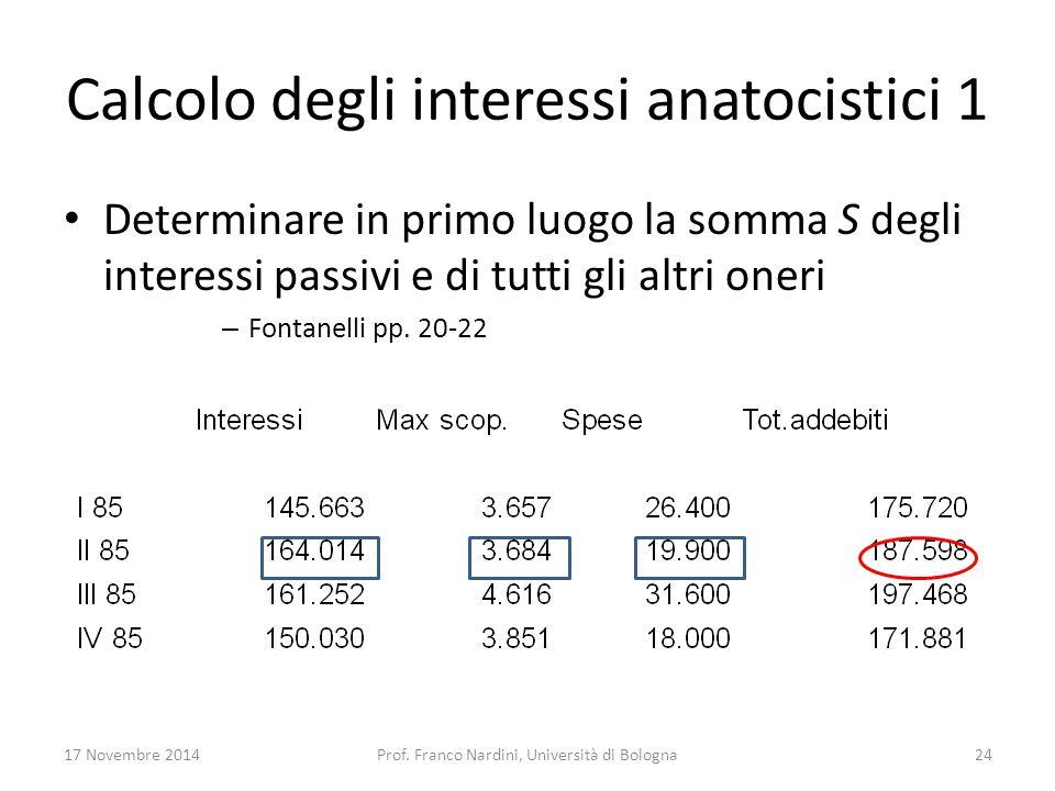 Calcolo degli interessi anatocistici 1