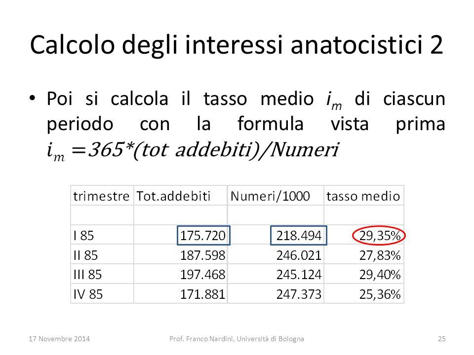 Calcolo degli interessi anatocistici 2