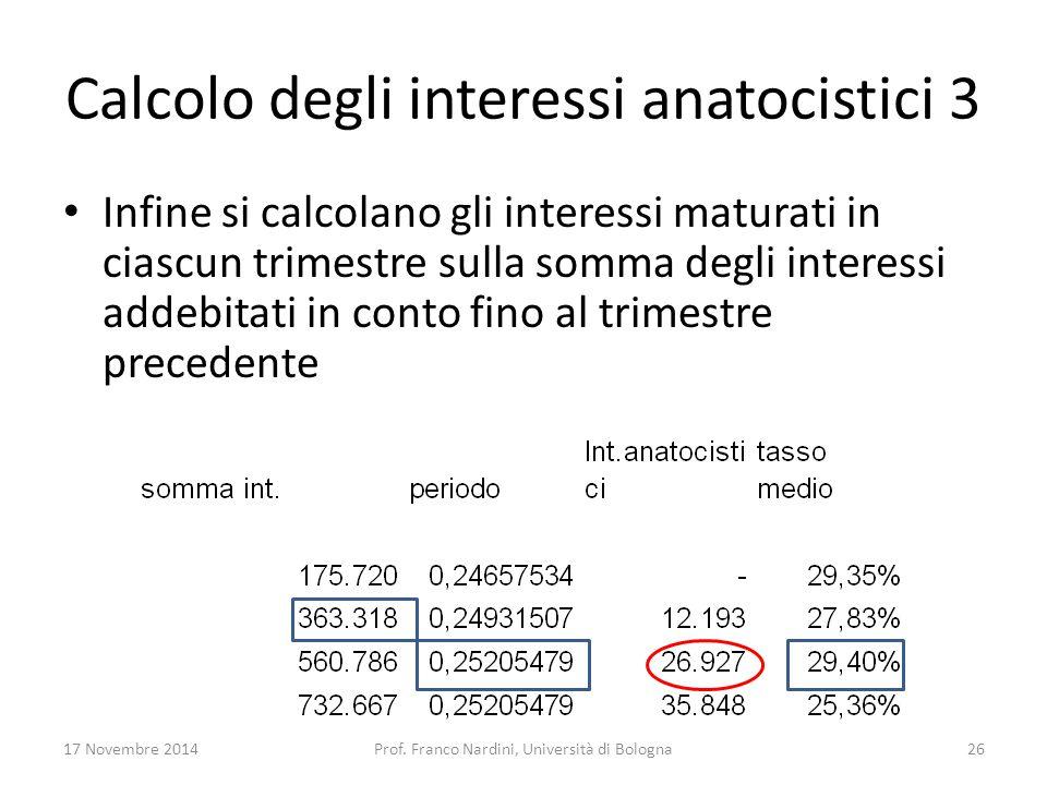 Calcolo degli interessi anatocistici 3