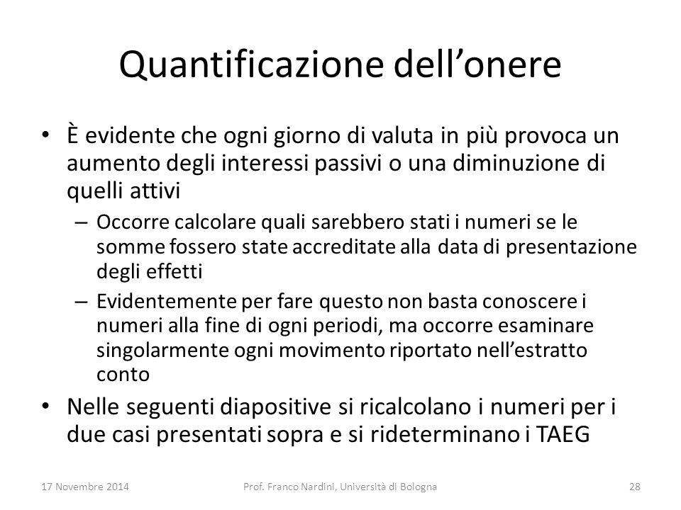 Quantificazione dell'onere