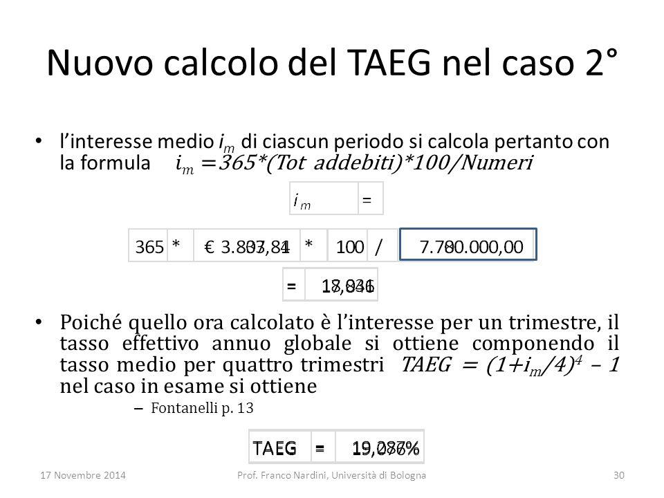 Nuovo calcolo del TAEG nel caso 2°