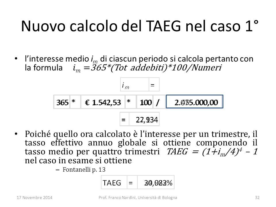 Nuovo calcolo del TAEG nel caso 1°