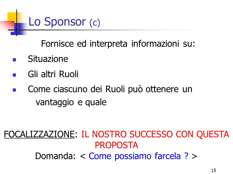 Lo Sponsor (c) Fornisce ed interpreta informazioni su: Situazione