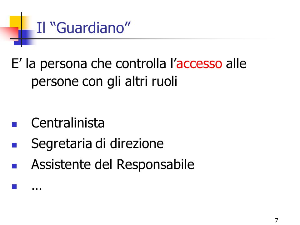 Il Guardiano E' la persona che controlla l'accesso alle persone con gli altri ruoli. Centralinista.
